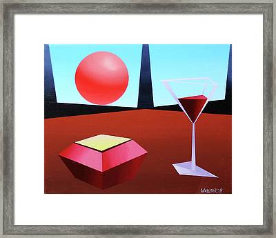 Glass Of Wine On Planet X Framed Print by Mark Webster