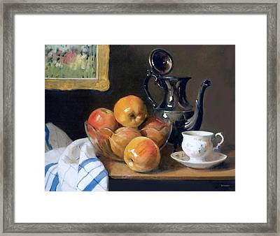 Glass, Silver And Apples Framed Print
