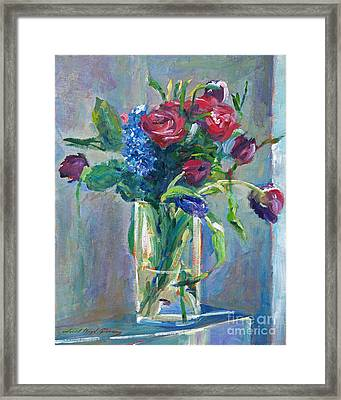 Glass Vase On Sill Framed Print by David Lloyd Glover