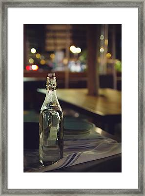 Glass Water Bottle Framed Print by April Reppucci
