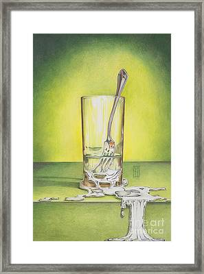 Glass With Melting Fork Framed Print by Melissa A Benson