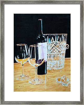 Glass Wood And Light And Wine Framed Print by Mary Lou Hall