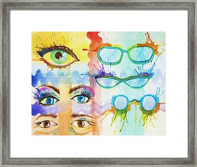Glasses And Lashes Framed Print
