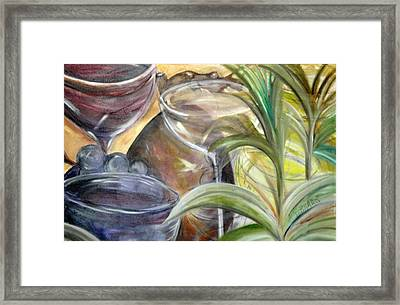 Glasses Grapes And Plants Framed Print