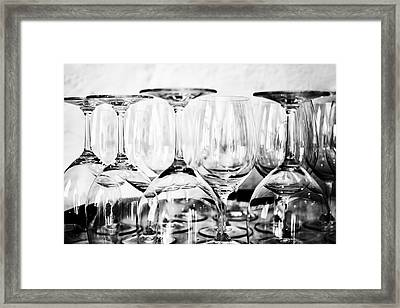 Glasses On A Barrel In Mono Framed Print by Georgia Fowler