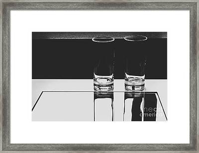 Glasses On A Table Bw Framed Print