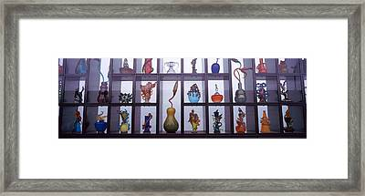 Glassware In A Museum, Museum Of Glass Framed Print by Panoramic Images