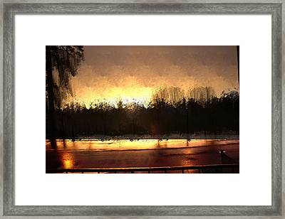 Glassy Dawn Framed Print