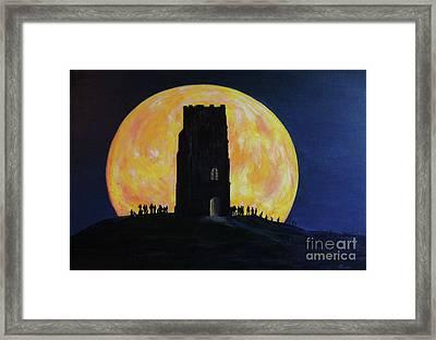 Super Moon Glastonbury Tor - Somerset, England   Framed Print by Anees Peterman