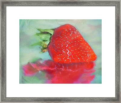 Glazed Strawberry Love Framed Print by Hal Halli