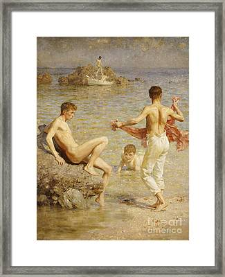 Gleaming Waters Framed Print by Henry Scott Tuke