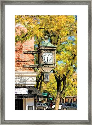 Framed Print featuring the painting Glen Ellyn Corner Clock by Christopher Arndt