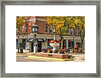 Glen Ellyn Watering Fountain Framed Print