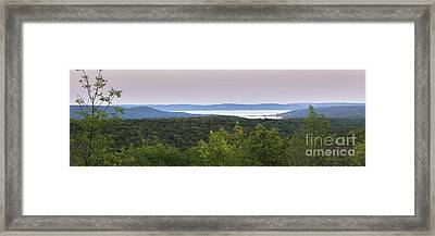 Glen Lake Panorama From The Dunes Framed Print