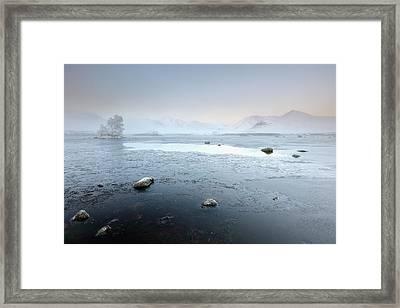 Framed Print featuring the photograph Glencoe Frozen Misty Winter Sunrise by Grant Glendinning