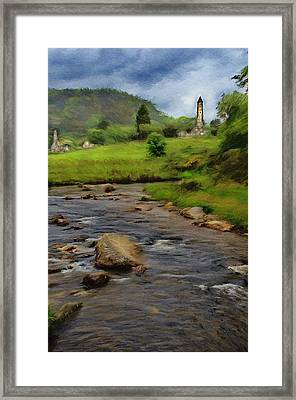 Framed Print featuring the painting Glendalough In The Distance by Jeff Kolker