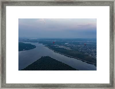 Gliding Over Ottawa River - A Hot Air Balloon Liftoff In The Morning Fog  Framed Print by Georgia Mizuleva