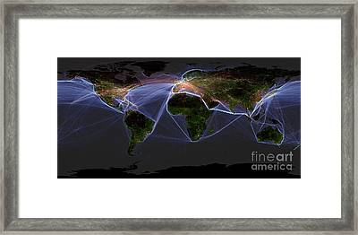 Global Transportation Map Framed Print by Felix PD and Globaia
