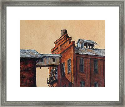 Globe Mills Walkway Framed Print by Candy Mayer