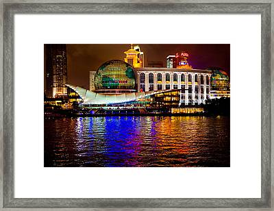 Globes On The Bund At Night Framed Print