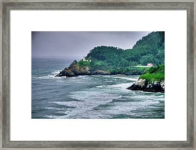 Gloomy Heceta Lighthouse  Framed Print by Connie Cooper-Edwards