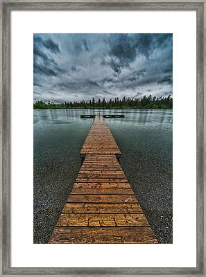 Framed Print featuring the photograph Gloomy Rainy Day On Norbury Lake by Darcy Michaelchuk