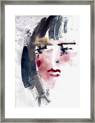 Framed Print featuring the painting Gloomy Woman  by Faruk Koksal