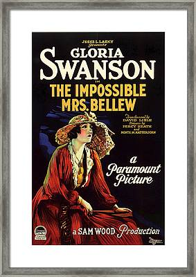 Gloria Swanson In The Impossible Mrs Bellew 1922 Framed Print