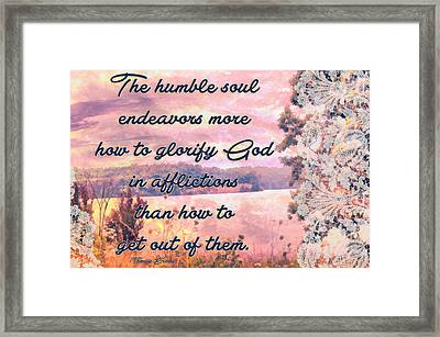 Glorify God In Afflictions Framed Print by Michelle Greene Wheeler