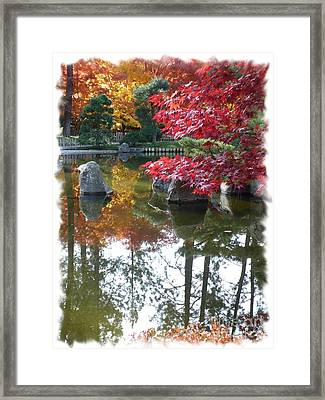 Glorious Fall Colors Reflection With Border Framed Print by Carol Groenen