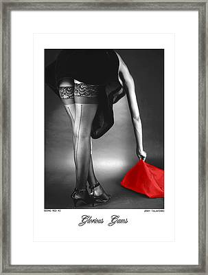 Glorious Gams - Seeing Red Framed Print by Jerry Taliaferro