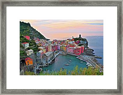 Glorious Sunrise Behind Vernazza Framed Print by Frozen in Time Fine Art Photography
