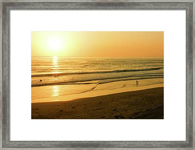 Glossy Gold And Surfers - Sunset On The Beach In California Framed Print by Georgia Mizuleva