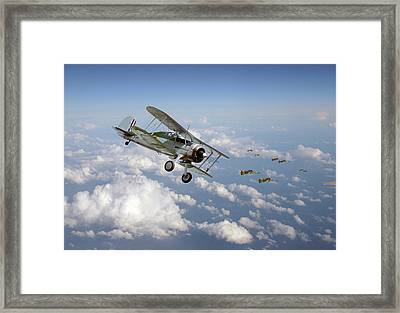 Framed Print featuring the digital art  Gloster Gladiator - Malta Defiant by Pat Speirs
