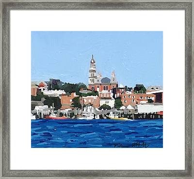 Gloucester City Hall From Inner Harbor Framed Print