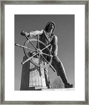 Gloucester Fisherman's Memorial Statue Black And White Framed Print