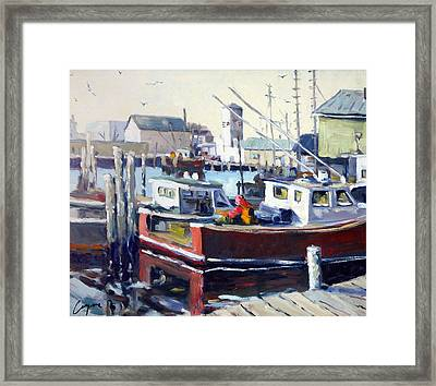 Gloucester Harbor And The Birdseye Tower Framed Print by Chris Coyne
