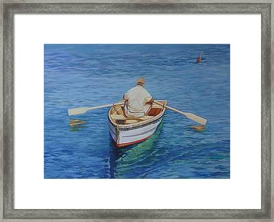Gloucester Harbor Fisherman Framed Print by Michael McDougall