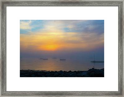 Gloucester Harbor Foggy Sunset Framed Print