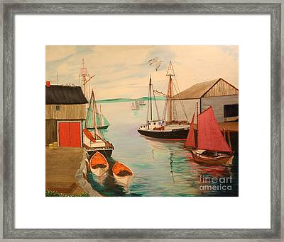 Gloucester Harbor - Mackerel Seiners 1933 Framed Print by Bill Hubbard