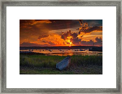 Gloucester Harbor Sunset Framed Print