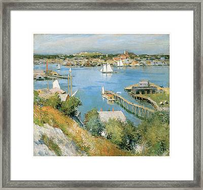 Gloucester Harbor Framed Print by Willard Leroy Metcalf