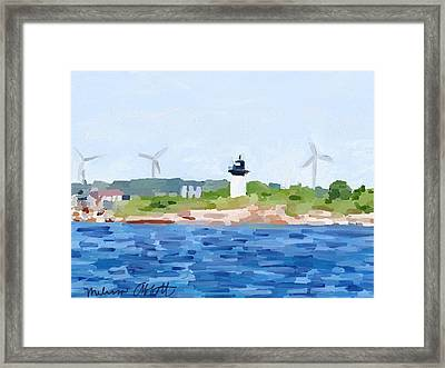 Gloucester Ma Skyline From Harbor Framed Print