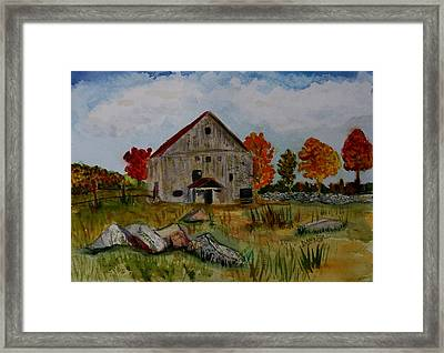 Framed Print featuring the painting Glover Barn In Autumn by Donna Walsh