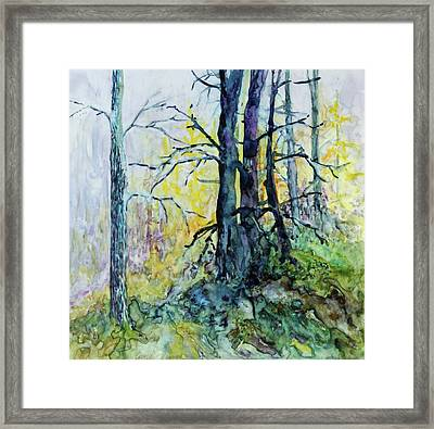 Framed Print featuring the painting Glow From The Tamarack by Joanne Smoley