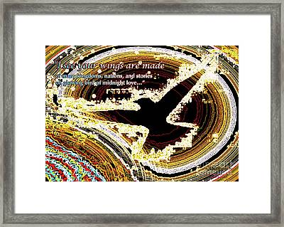 Glowing Bird Of Midnight Love Framed Print by Postered Chromatic Poetics