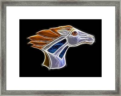 Glowing Bronco Framed Print by Shane Bechler