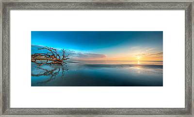 Glowing Dawn Panorama Framed Print by Debra and Dave Vanderlaan