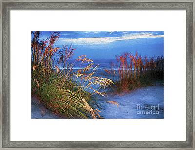 Framed Print featuring the digital art Glowing Dunes Before Sunrise On The Outer Banks Ap by Dan Carmichael