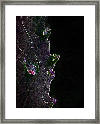 Glowing Edges And Drops Framed Print by Marilynne Bull